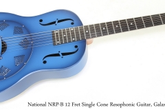 National NRP-B 12 Fret Single Cone Resophonic Guitar, Galaxy Blue   Full Front View