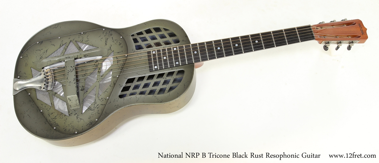 National NRP B Tricone Black Rust Resophonic Guitar   Full Front View