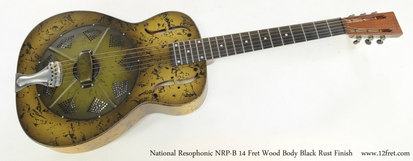 National Resophonic NRP-B 14 Fret Wood Body Black Rust Finish  Full Front View