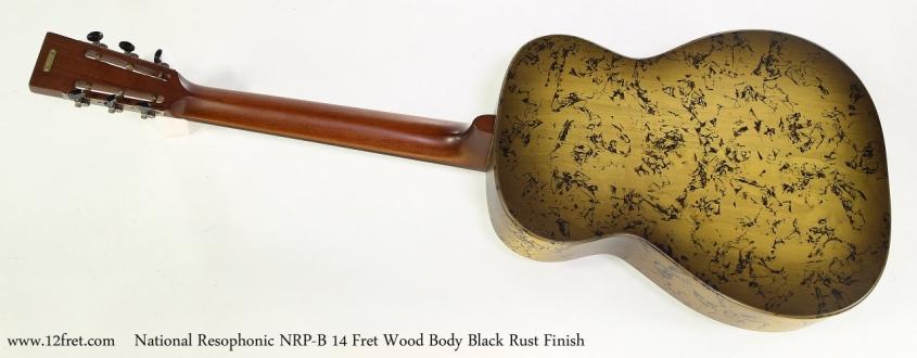 National Resophonic NRP-B 14 Fret Wood Body Black Rust Finish  Full Rear View