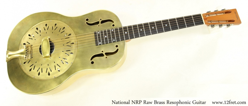 National NRP Raw Brass Resophonic Guitar Full Front View