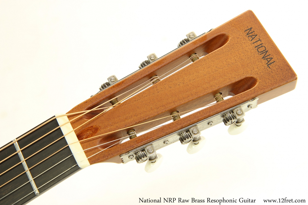 National NRP Raw Brass Resophonic Guitar Heaad Front View