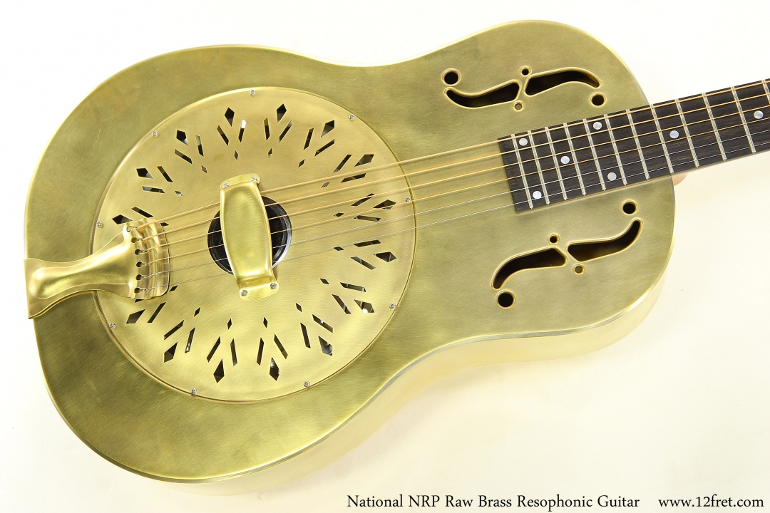 National NRP Raw Brass Resophonic Guitar Top View