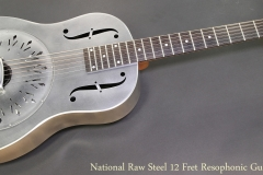 National Raw Steel 12 Fret Resophonic Guitar Full Front View