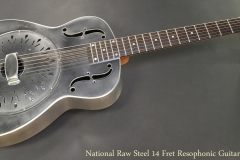 National Raw Steel 14 Fret Resophonic Guitar Full Front View