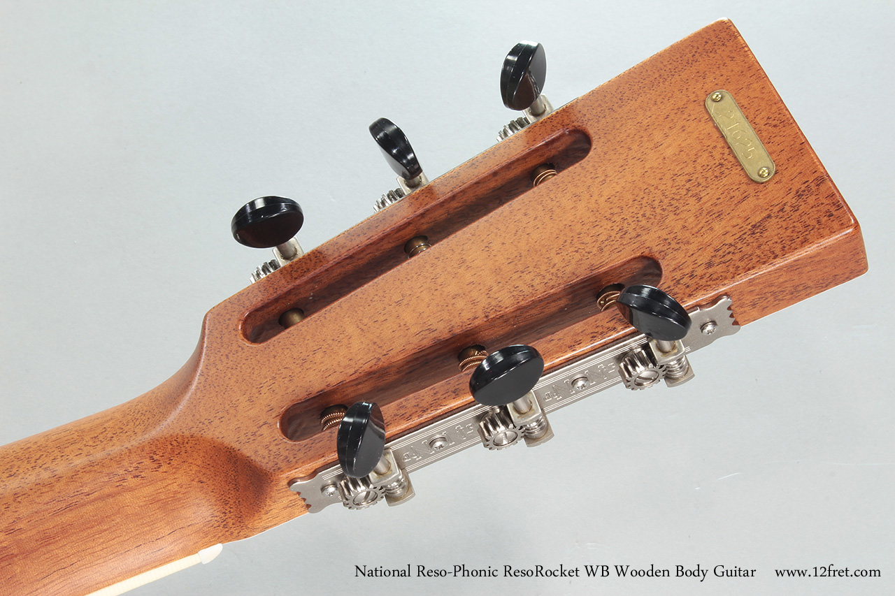 National Reso-Phonic ResoRocket WB Wooden Body Guitar Head Rear View