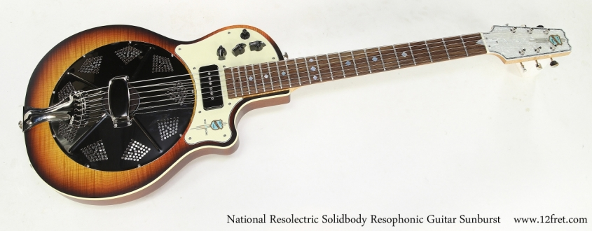 National Resolectric Solidbody Resophonic Guitar Sunburst Full Front View