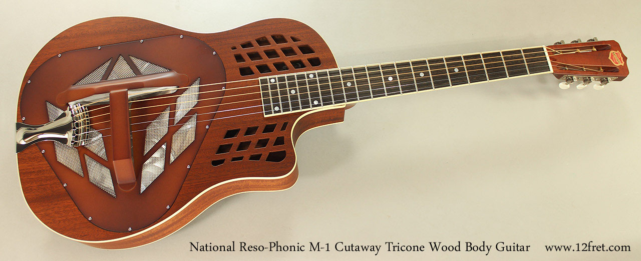 National Reso-Phonic M-1 Cutaway Tricone Wood Body Guitar Full Front View