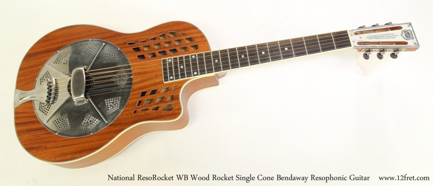 National ResoRocket WB Wood Rocket Single Cone Bendaway Resophonic Guitar Full Front VIew