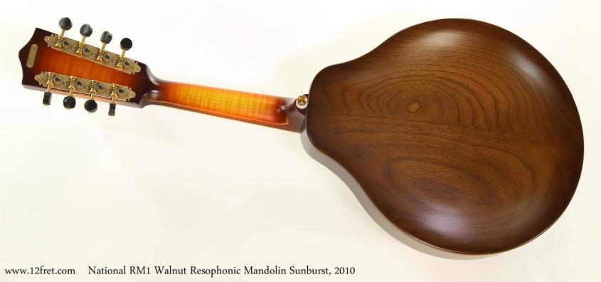 National RM1 Walnut Resophonic Mandolin Sunburst, 2010  Full Rear View