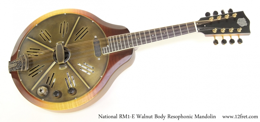 National RM1-E Walnut Body Resophonic Mandolin   Full Front View