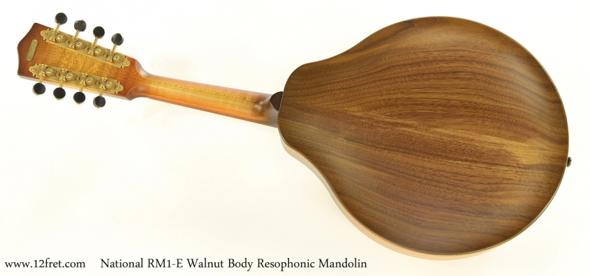 National RM1-E Walnut Body Resophonic Mandolin   Full Rear View