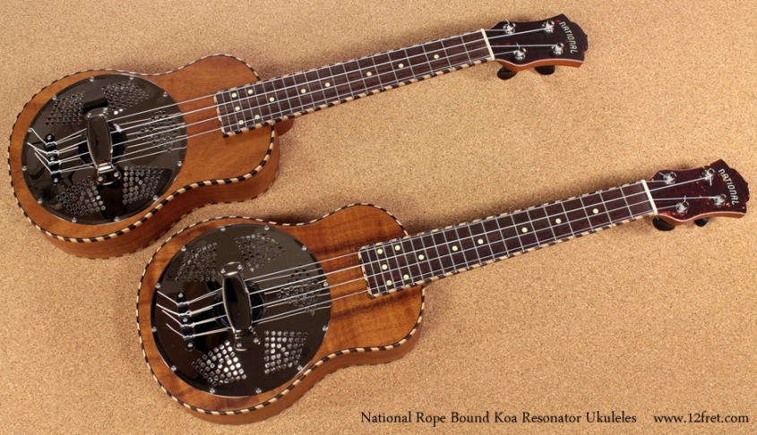 National Resophonic Rope Bound Koa Resonator Ukuleles full front view