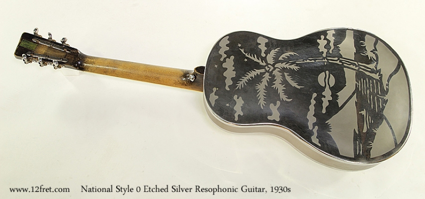 National Style 0 Etched Silver Resophonic Guitar, 1930s  Full Rear View
