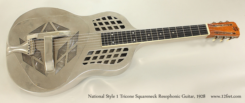 National Style 1 Tricone Squareneck Resophonic Guitar, 1928 Full Front VIew