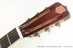 National Style 1 Tricone Resophonic Guitar   Head Front View