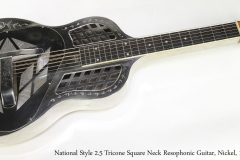 National Style 2-5 Tricone Square Neck Resophonic Guitar, Nickel, 1929  Full Front View
