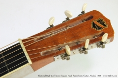 National Style 2-5 Tricone Square Neck Resophonic Guitar, Nickel, 1929  Head Front View