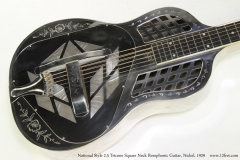 National Style 2-5 Tricone Square Neck Resophonic Guitar, Nickel, 1929  Top View