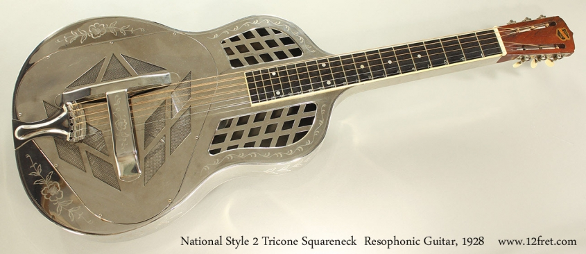 National Style 2 Tricone Squareneck Resophonic Guitar, 1928 Full Front View