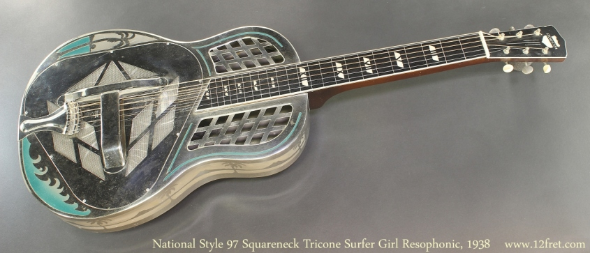 National Style 97 Squareneck Tricone Surfer Girl Resophonic, 1938 Full Front View
