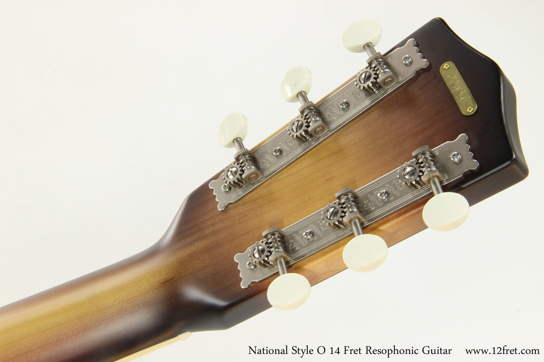 National Style O 14 Fret Resophonic Guitar  Head Rear VIew