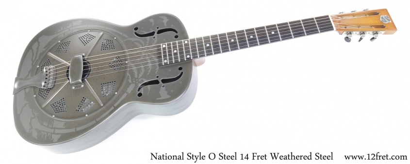 National Style O Steel 14 Fret Weathered Steel Full Front View
