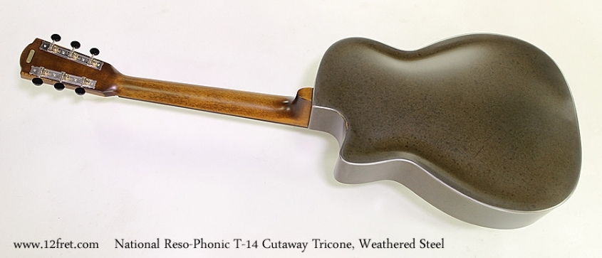 National Reso-Phonic T-14 Cutaway Tricone, Weathered Steel  Full Rear View