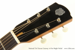 National T14 Tricone Cutaway 14 Fret Bright Nickel   Head Front View