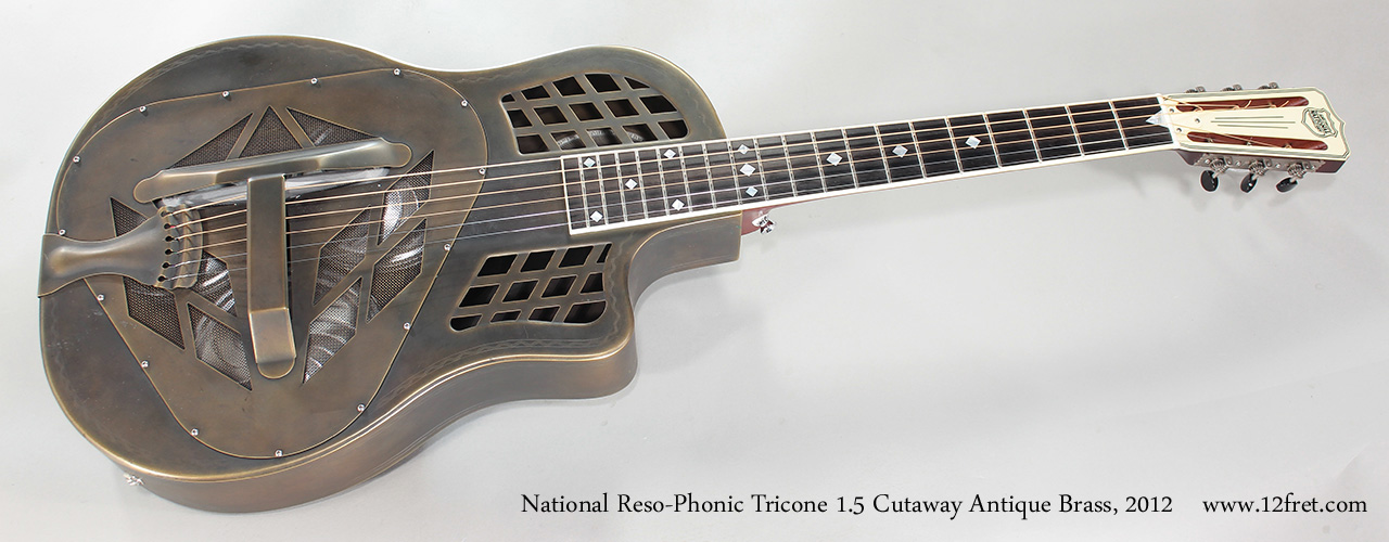 National Reso-Phonic Tricone 1.5 Cutaway Antique Brass, 2012 Full Front View