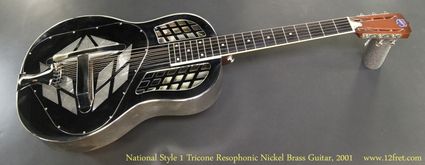 National Style 1 Tricone 12 Fret Resophonic Nickel Brass Guitar, 2001 Full Front View