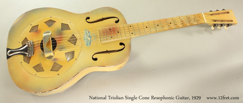 National Triolian Single Cone Resophonic Guitar, 1929 Full Front View