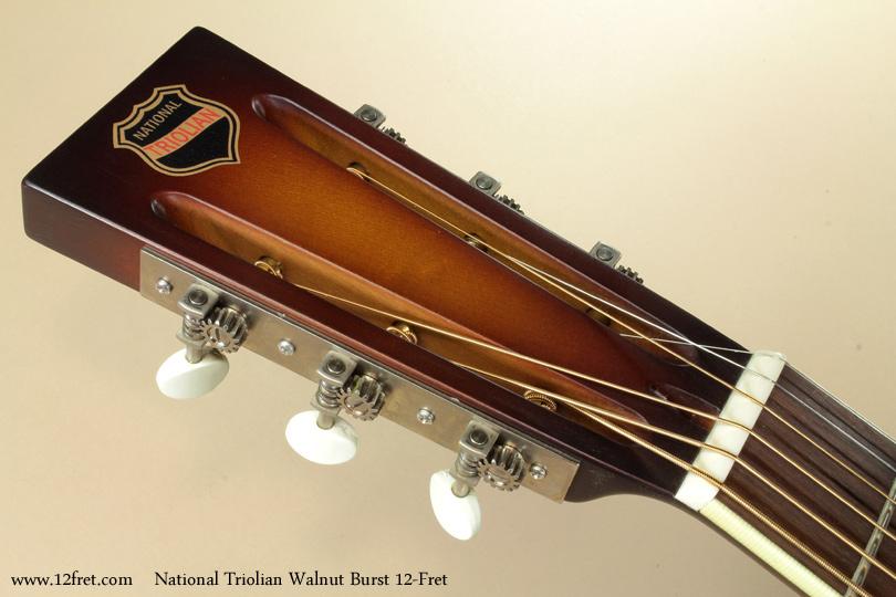 National Triolian Walnut Burst 12-Fret head front