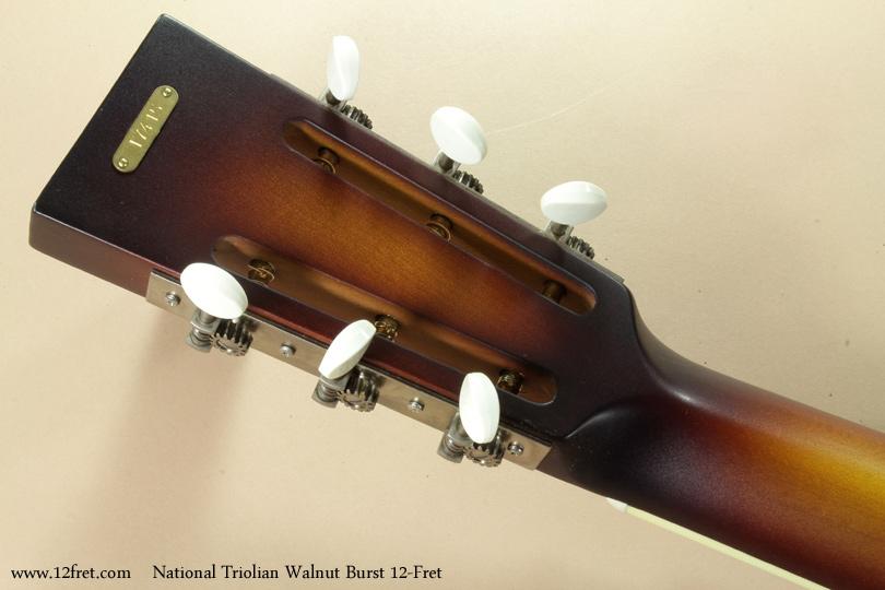 National Triolian Walnut Burst 12-Fret head rear