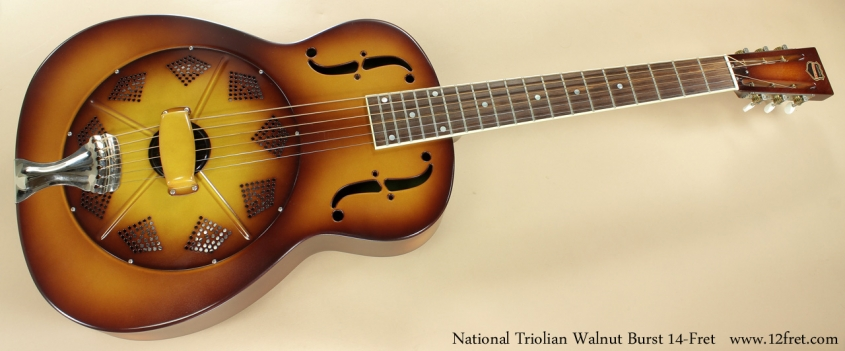 National Triolian Walnut Burst 14-Fret full front view