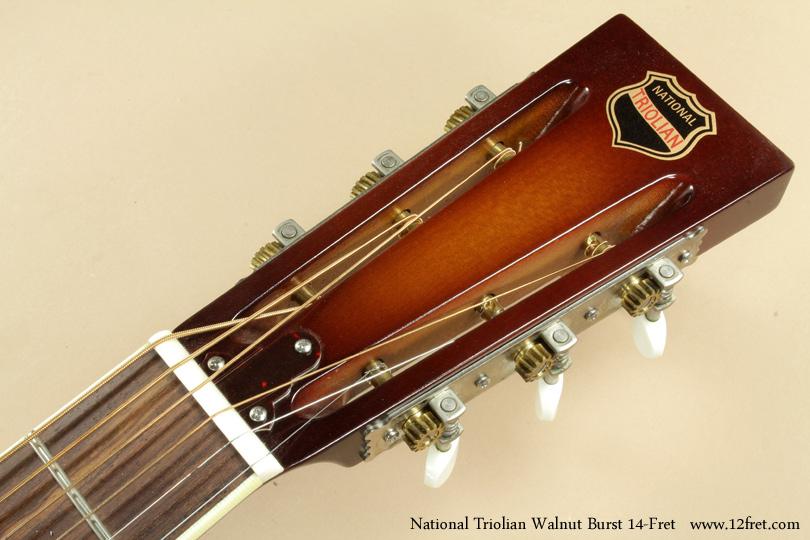 National Triolian Walnut Burst 14-Fret  head front
