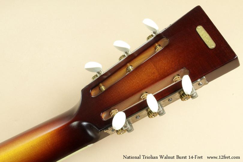 National Triolian Walnut Burst 14-Fret  head rear