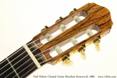Neil Hebert Classical Guitar Brazilian Rosewood, 1986 Head Front View