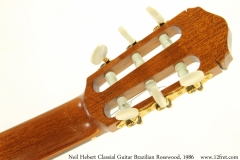 Neil Hebert Classical Guitar Brazilian Rosewood, 1986 Head Rear View