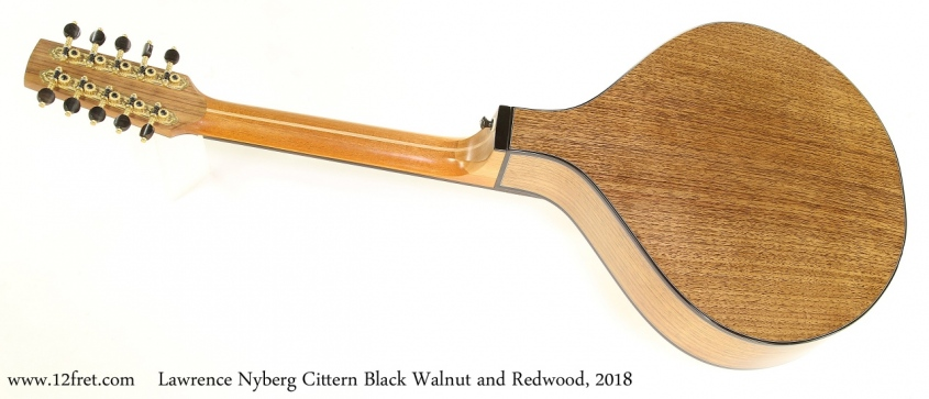 Lawrence Nyberg Cittern Black Walnut and Redwood, 2018 Full Rear View