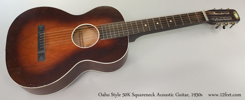 Oahu Style 50K Squareneck Acoustic Guitar, 1930s Full Front View