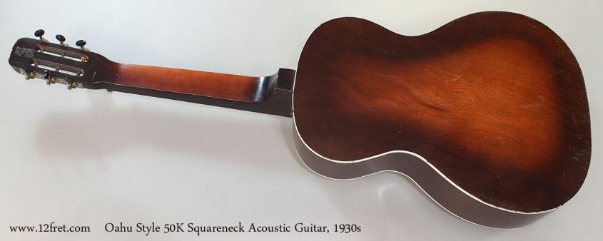 Oahu Style 50K Squareneck Acoustic Guitar, 1930s Full Rear View