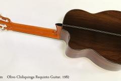 Olivo Chiliquinga Requinto Guitar, 1982 Full Rear View