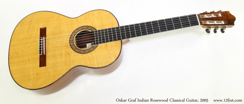 Oskar Graf Indian Rosewood Classical Guitar, 2005  Full Front View