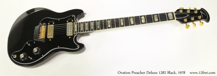 Ovation Preacher Deluxe 1282 Black, 1978  Full Front VIew