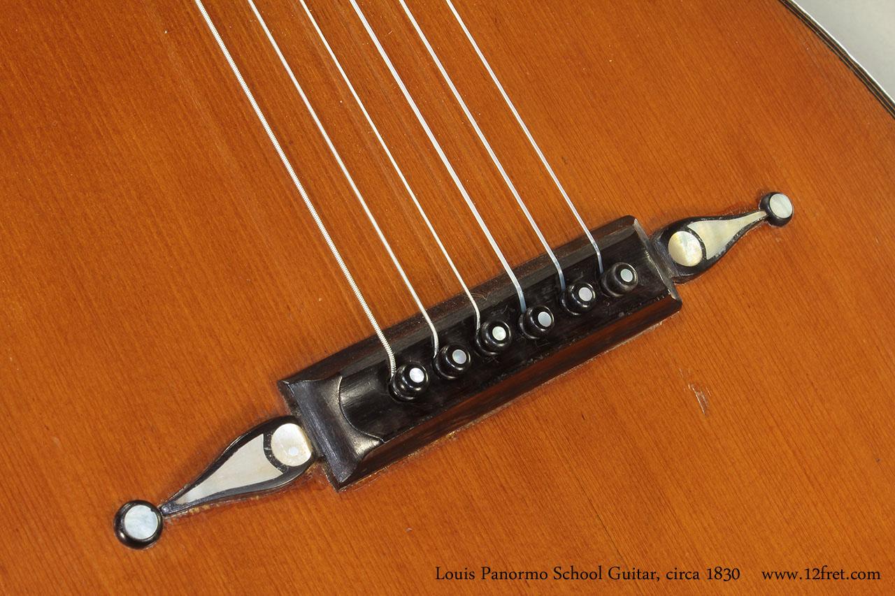 Louis Panormo School Guitar circa 1830 bridge