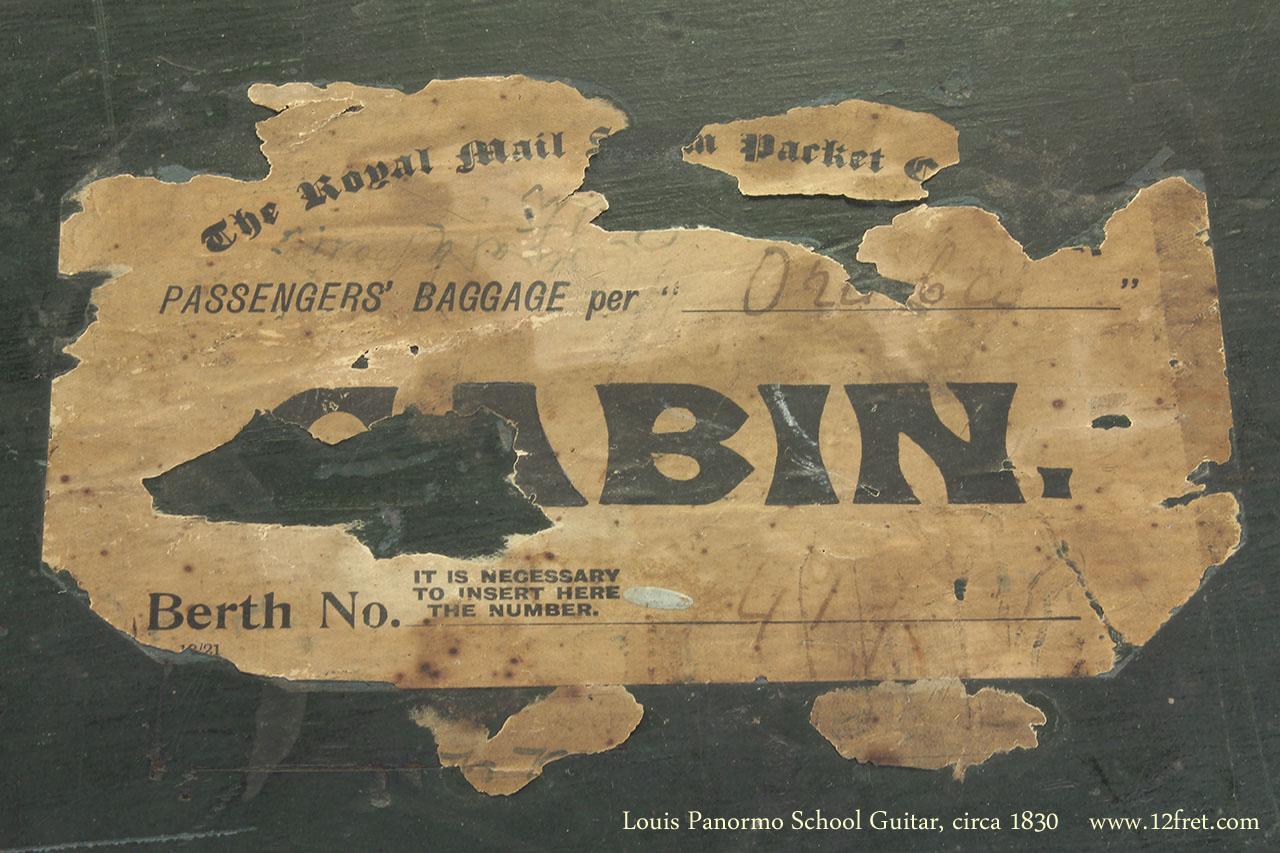 Louis Panormo School Guitar circa 1830 case label