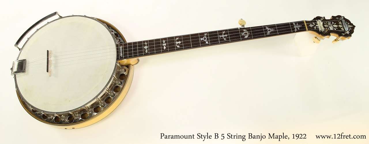 Paramount Style B 5 String Banjo Maple, 1922   Full Front View