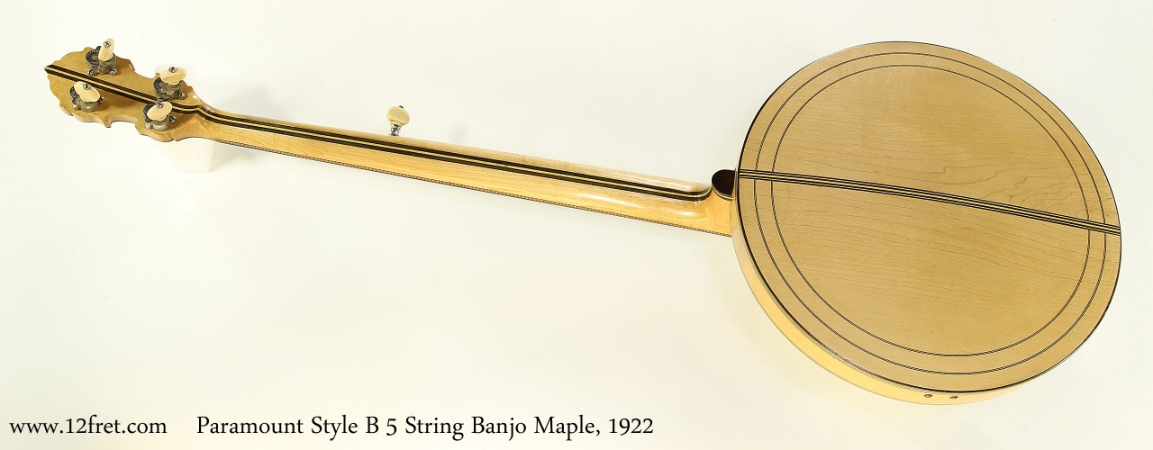 Paramount Style B 5 String Banjo Maple, 1922   Full Rear View