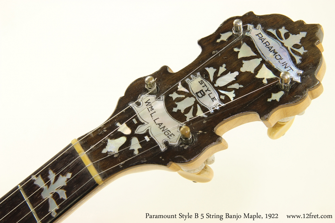 Paramount Style B 5 String Banjo Maple, 1922   Head Front View